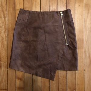 Brown Pleather Wrap Skirt
